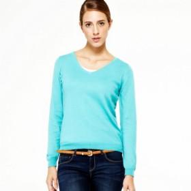 VANCL Carol Sweety V-Neck Knit Sweater (Women) Grass Green SKU:725057