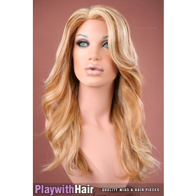 Human Hair Super Long Skin Top Wig Natural Blonde
