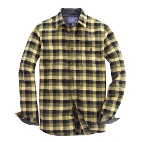 Buy vancl howard plaid flannel shirt men yellow green for Mens yellow plaid flannel shirt