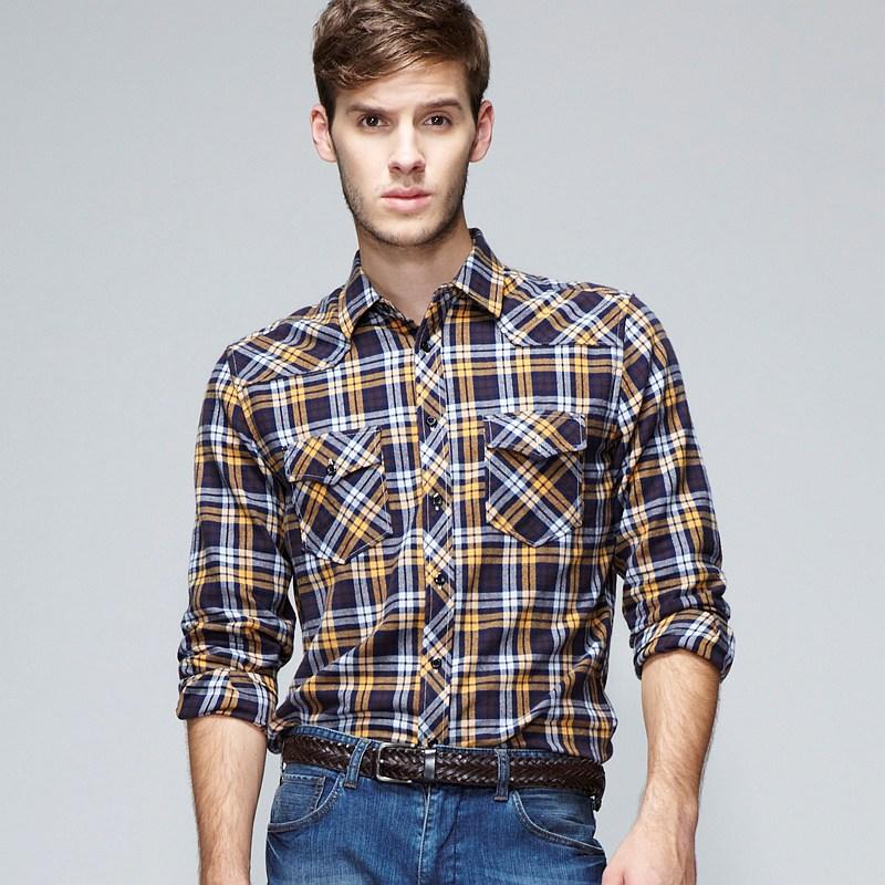 Vancl henley plaid flannel shirt men blue yellow for Mens yellow plaid flannel shirt