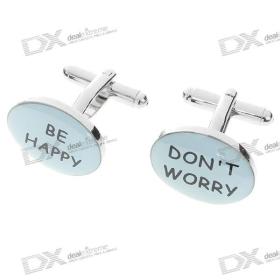 (Csak Nagykereskedelmi) Do not Worry Be Happy + Pattern Kézelőgomb / Buttons (pár) SKU: 42846