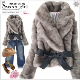 Women's Winter Coat Rabbit Hair Grey Lady Coat Belted JR001