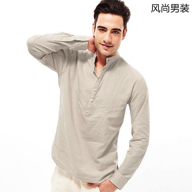 VANCL Pullover Stand Collar Linen Shirt Beige SKU – Wholesale ...