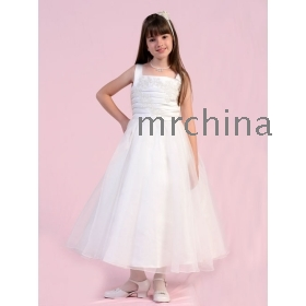 Beautiful Ruched Embroidered Bodice Flower Girl Dress