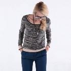 985a010c19 VANCL Alice Heathered Long Sleeve Knitwear (Women) Black Gray SKU 193795