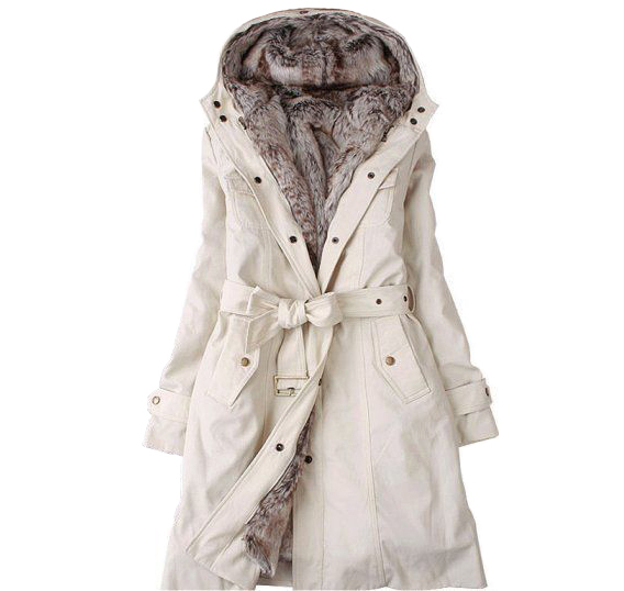 White winter coat with hood – Modern fashion jacket photo blog