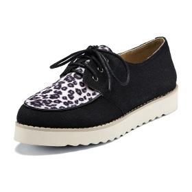 VANCL Leopard Vamp Platform Shoes Black SKU:181585