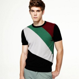 VANCL Anthony Contrast Short Sleeve Sweater (Men) Black SKU:685604