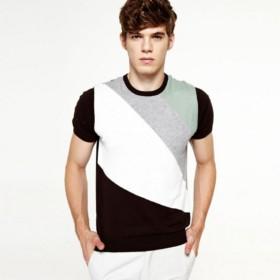 VANCL Anthony Contrast Short Sleeve Sweater (Men) Light Coffee SKU:685605