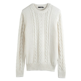 VANCL Nash Basic Cable Knit Sweater (Men) Ivory SKU:182725