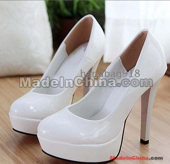 All White High Heels