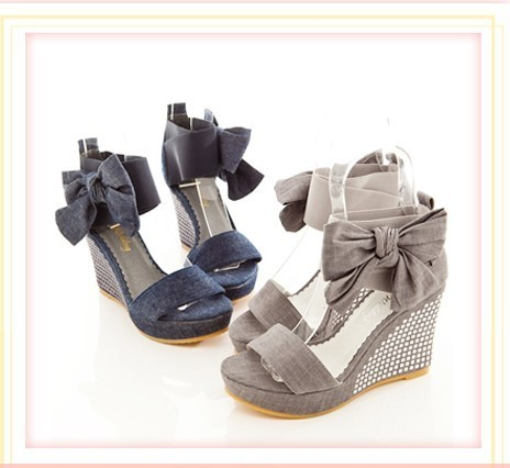 Grey Wedge Heels