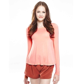 VANCL [VT] Isabelle Long Sleeve Flare Tee (Women) Coral Pink SKU:181563