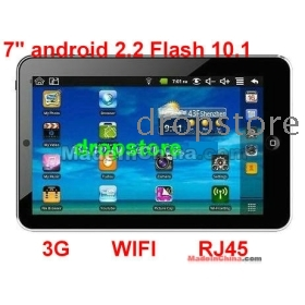 2PC*7 Inch Android 2.2 VIA 8650 Tablet PC, support Flash 10.1 WIFI & 3G, RJ45 epad laptop