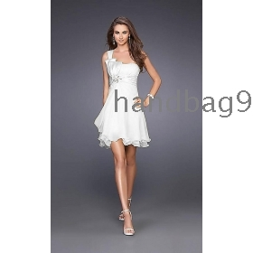 white one shoulder Cocktail Dress/bridesmaid dress/evening dress/ prom dress/dinner jacket/formal dress/party dress/wedding dress T9030