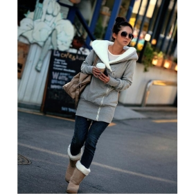 free shipping NEW Women's Outwear Oblique Zipper Cold-proof Cotton Jumper Grey L SIZE X09112624