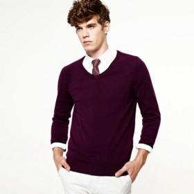VANCL Denny Basic V-Neck Sweater (Men) Dark Violet SKU:830407