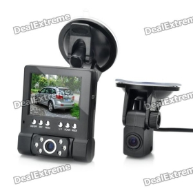 "L1000 2.8"" LCD 3MP Dual Camera HD 720P Car DVR + 4m Length External Camera SKU:130628"