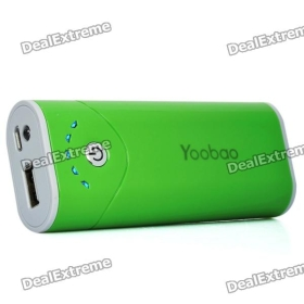 Yoobao External 5200mAh Emergency Power Charger w/ LED Flashlight for /iPad/Cell Phone - Green