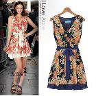 Free shipping - 2013 fashion Tencel printing folding waist sleeveless Dresses women's V-neck evening dress