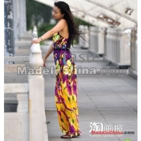 Nový módní výstřih květinové šaty, staročeský způsob Maxi šifon Dlouhá sukně , doprava zdarma -05