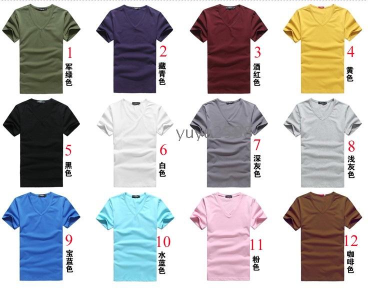 Mix color men 100 cotton v neck short sleeve t shirts for 100 cotton v neck t shirts wholesale
