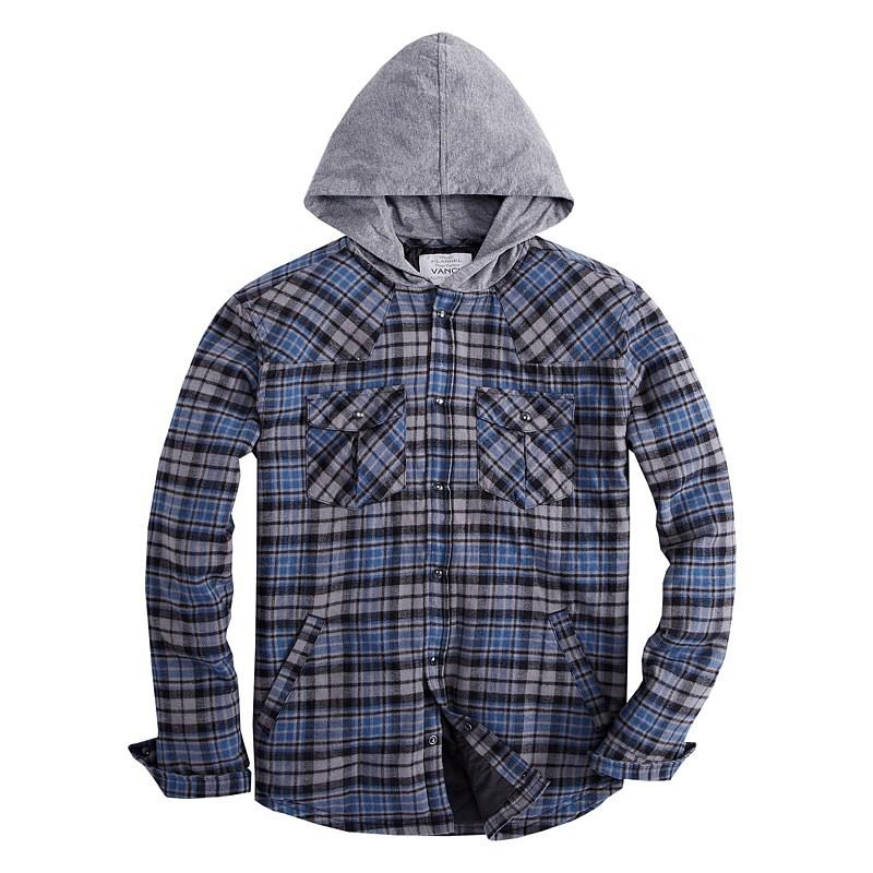 VANCL Agustin Plaid Flannel Shirt Hood Men Blue - סיטוני VANCL ... f1c741c8fda2