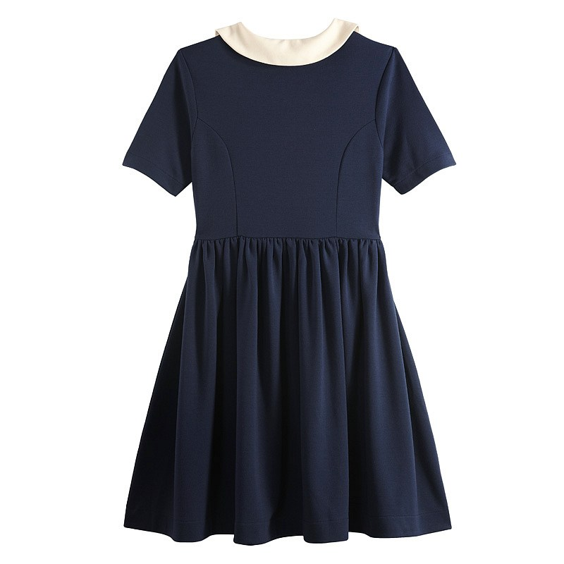 VANCL Cecilia Peter Pan Collar Dress (Women) Navy Blue SKU:192780