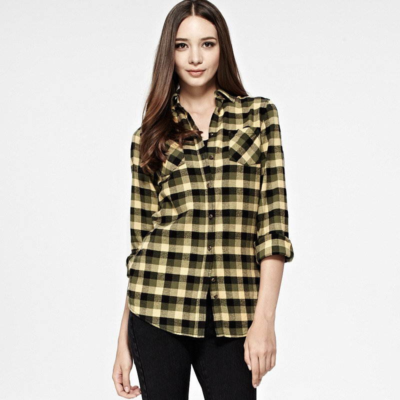 Vancl cecelia plaid flannel shirt women yellow green sku for Womens green checked shirt