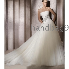 Brilliant Ball Gown Strapless Chapel Train Tulle Wedding Dress Empire Wedding Dresses