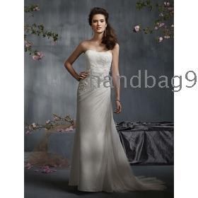 Beading, Sequins Strapless Flowers Train  -up Back wedding dresses
