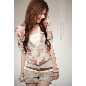 Women's Rose Printing Short Style Half Sleeve Coat one size NEW ARRIVALS hot sale Y10022123