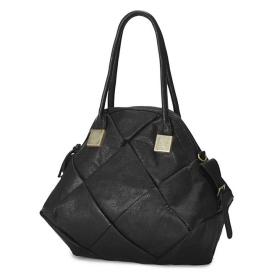 Free shipping Individual Style Check Design Stylish Bag Black 12082309