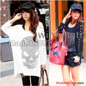 New Fashion Women Post drilling Skull Hollow Sleeve Loose T-shirt Blouse Top