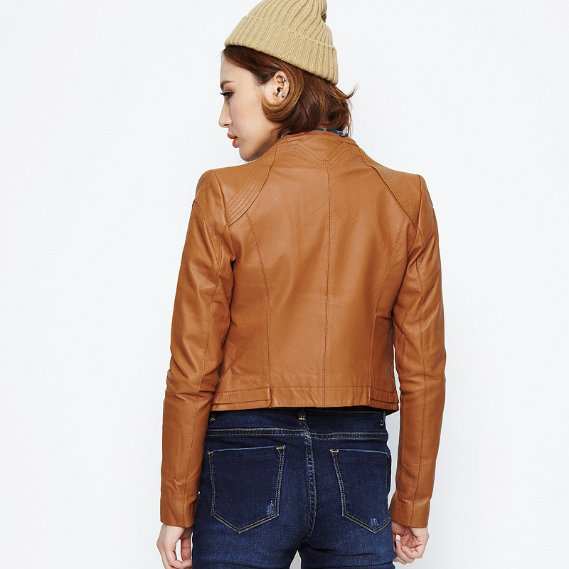 Images of Light Brown Leather Jacket Womens - Reikian