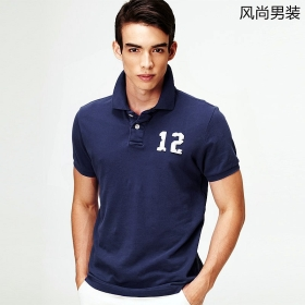 VANCL Number 12 Short Sleeve Polo (Men) Navy Blue SKU:176966