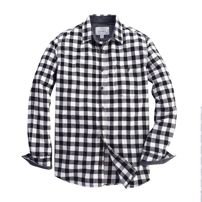 VANCL HOWARD PLAID FLANNEL SHIRT MEN BLACK WHITE – WHOLESALE VANCL ...