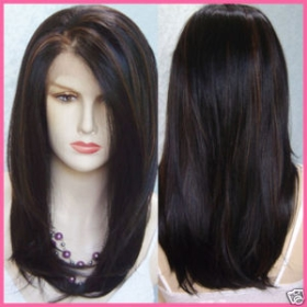 human hair long straight wig wigs ml14 black brn