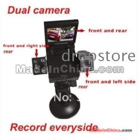 Wholesale -10PCS  H3000 Car DVR, double camera vehicle DVR, sports 2CH DVR