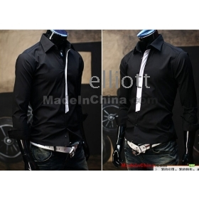 Free shipping Mens Casual Shirts Long-sleeve Slim Shirt Cotton shirt Black