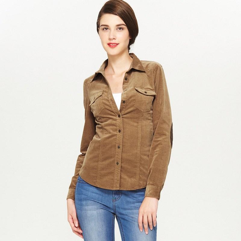 VANCL Bridget Elbow Patch Corduroy Shirt (Women) Camel SKU:180824