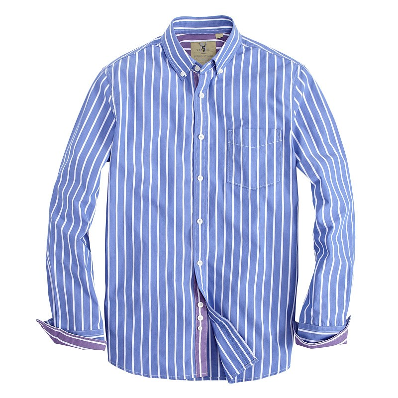 blue and white striped mens shirt is shirt