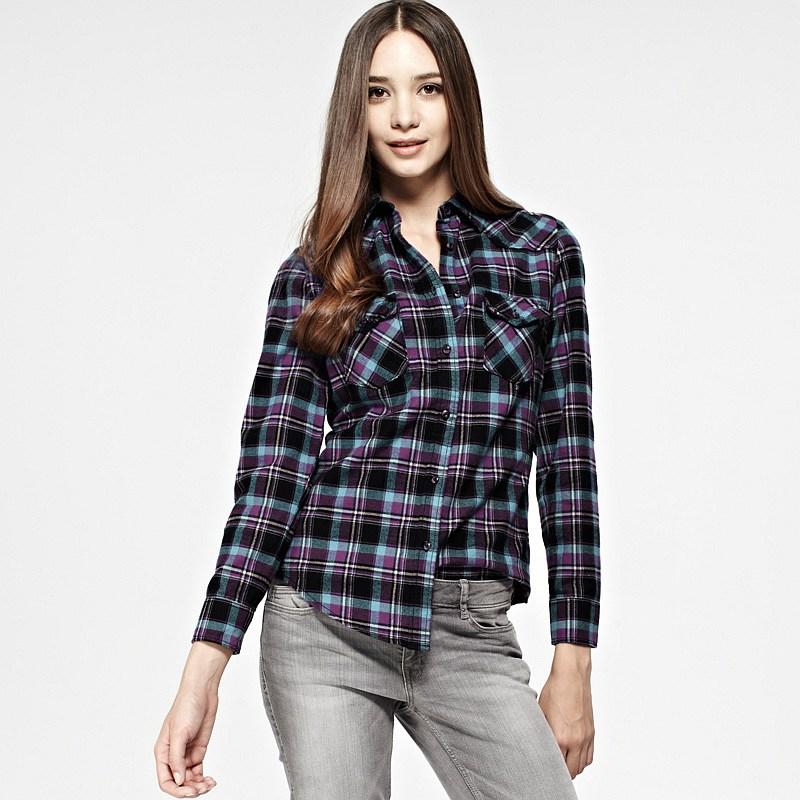 Vancl Raina Plaid Flannel Shirt Blue Black Sku Wholesale