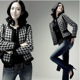 Free shipping 2013 spring women houndstooth woolen short jacket elegant OL blazer Plus size:S-4XL