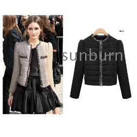 Free Shipping ! Winter short cotton-padded jacket women's outerwear Leopard Elegant Short Down Coat color:Black/Khaki  size:S~XXL