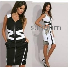 Free Shipping, Top Quality, Women Fashion Color Block Black White Geometric Patchwork Zipper Slim Elegant Pencil Dress -DH078