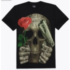 Free Shipping !~ Rock european version of the loose black teenage o-neck short-sleeve 3D print t-shirt male skull personality