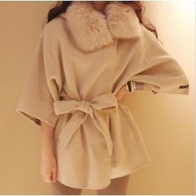 Free Shipping !~women coats fur with cap female woolen cloak outerwear fur collar medium-long blended wool coat Size:XS~XL