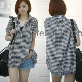 Free shipping women tops and blouses 2013 new fashion korean clothes loose casual plaid shirt blouse 6020