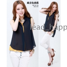 Free shipping women tops and blouses 2013 new fashion korean clothes loose sleeveless vest suit chiffon shirt blouse